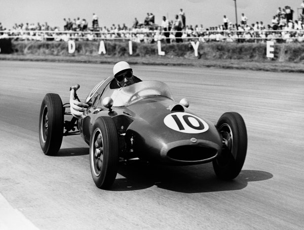 Silverstone, England. 17th - 19th July 1958.Roy Salvadori (Cooper T45 Climax), 3rd position, action. World Copyright: LAT Photographic.Ref:  B/W Print