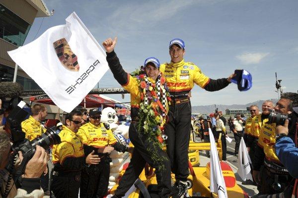 16-18 May, 2008, Tooele, Utah, USARomain Dumas and Timo Bernhard celebrate another Penske Porsche victory.©2008, Richard Dole, USALAT Photographic