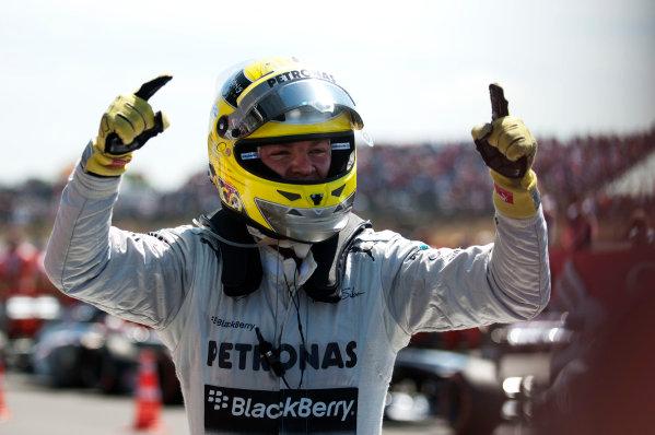 Silverstone, Northamptonshire, England 30th June 2013 Nico Rosberg, Mercedes AMG, 1st position, arrives in Parc Ferme World Copyright: Chris Bird/  ref: Digital Image _CJB6701