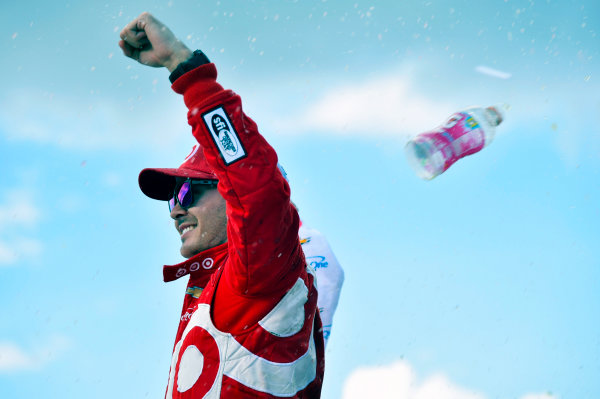 Monster Energy NASCAR Cup Series Pure Michigan 400 Michigan International Speedway, Brooklyn, MI USA Sunday 13 August 2017 Kyle Larson, Chip Ganassi Racing, Target Chevrolet SS celebrates his win World Copyright: Nigel Kinrade LAT Images