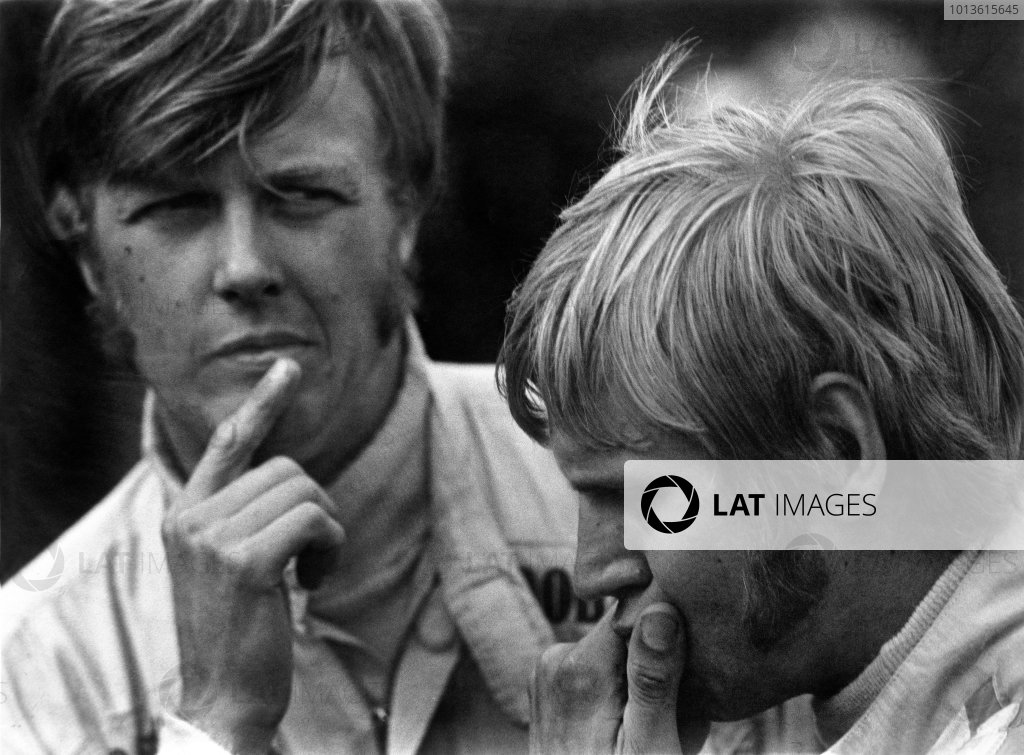 Anderstorp, Sweden. 29th June 1969.Ronnie Peterson (Tecno 69 - Ford/Novamotor), with Reine Wisell (Chevron B15 - Ford/Novamotor), portrait. World Copyright: LAT Photographic.Ref: B/W Print.
