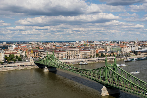 Hungaroring, Budapest, Hungary. Monday 5 June 2017. A view of the city, Liberty Bridge and the Danube River. World Copyright: Zak Mauger/LAT Images ref: Digital Image _56I0505