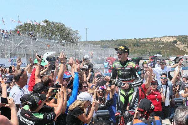 2017 Superbike World Championship - Round 8 Laguna Seca, USA. Sunday 9 July 2017 Winner Jonathan Rea, Kawasaki Racing sprays fans World Copyright: Gold and Goose/LAT Images ref: Digital Image 683469
