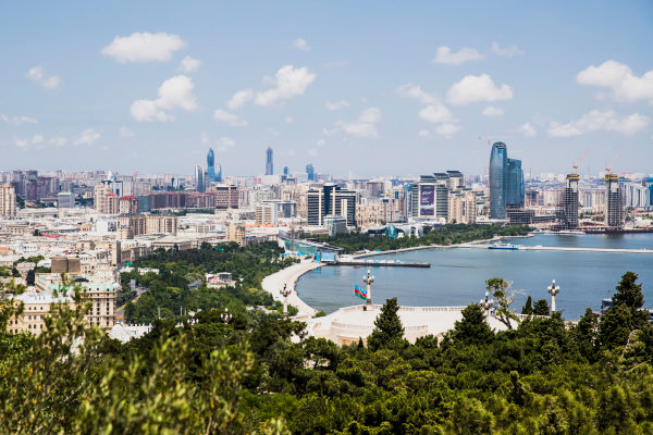 Baku City Circuit, Baku, Azerbaijan. Wednesday 21 June 2017. A view of the city from Dagustu (Upland) Park. World Copyright: Zak Mauger/LAT Images ref: Digital Image _56I5991