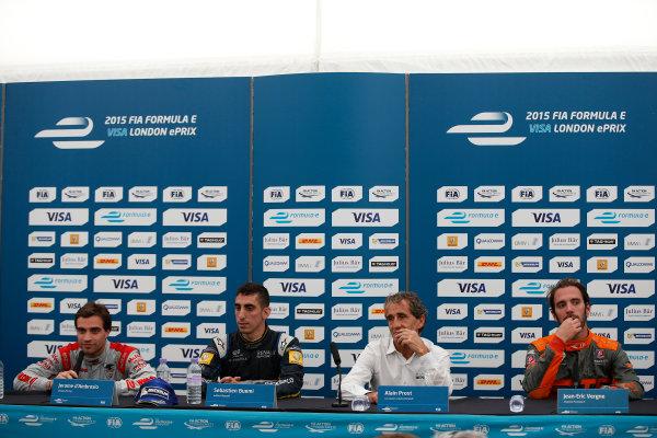2014/2015 FIA Formula E Championship. London e-Prix, Battersea Park, London, UK. Saturday 27 June 2015. Sebastien Buemi (SWI)/E.dams Renault - Spark-Renault SRT_01E, Jerome D'Ambrosio (BEL)/Dragon Racing - Spark-Renault SRT_01E, Alain Prost, and Jean-Eric Vergne (FRA)/Andretti Motorsport - Spark-Renault SRT_01E  World Copyright: Glenn Dunbar/LAT Photographic/Formula E. ref: Digital Image _89P8563