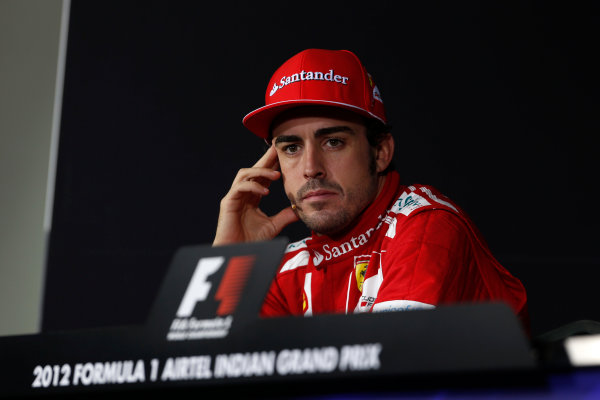 2012 Indian Grand Prix - Sunday Buddh International Circuit, New Delhi, India. 28th October 2012. Fernando Alonso, Ferrari, 2nd position, in the Press Conference.  World Copyright:Charles Coates/LAT Photographic ref: Digital Image _N7T6173