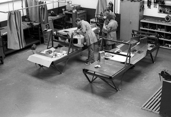 Inside the Penske factory in Poole, Dorset.