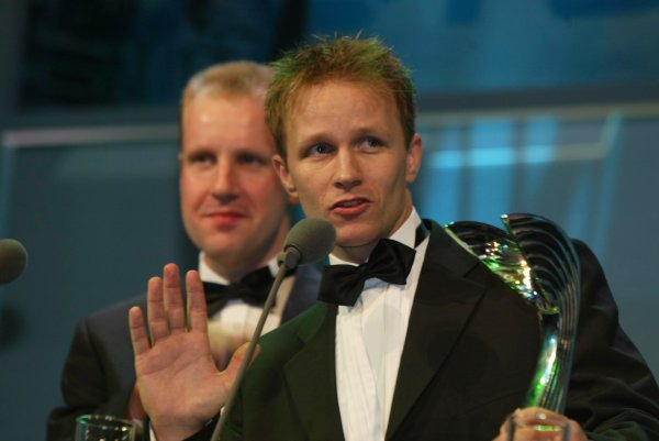 2003 AUTOSPORT AWARDS, The Grosvenor, London. 7th December 2003.Petter Solberg receives International Rally Driver of the year award.Photo: Peter Spinney/LAT PhotographicRef: Digital Image only
