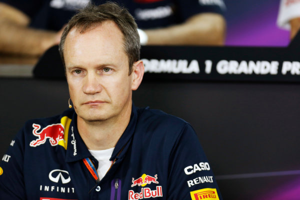 Interlagos, Sao Paulo, Brazil. Friday 13 November 2015. Jonathan Wheatley, Team Manager, Red Bull Racing, in the Team Principals Press Conference. World Copyright: Alastair Staley/LAT Photographic ref: Digital Image _79P3739