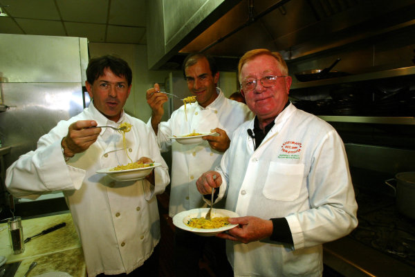 2002 ALMS Championship2002 ALMS Sears PointCapello, Pirro and Don Panoz cook together at Fior d'Italia in San Francisco.World Copyright, Richard Dole/LAT Imageref: Digital Image Only