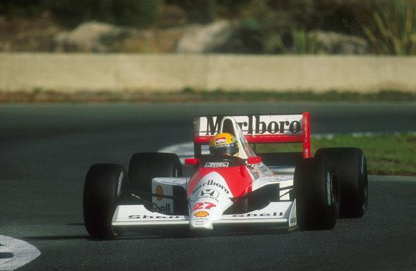 1990 Spanish Grand Prix.Jerez, Spain.28-30 September 1990.Ayrton Senna (McLaren MP4/5B Honda). He exited the race after he had a holed radiator.Ref-90 ESP 11.World Copyright - LAT Photographic