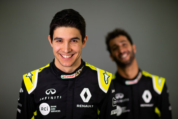 (L to R): Esteban Ocon (FRA) Renault F1 Team with team mate Daniel Ricciardo (AUS) Renault F1 Team. Copyright: James Moy/XPB/Renault F1