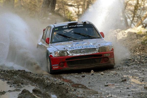 2003 FIA World Rally Championship. Kemer, Turkey. Rd3.26/2-2/3 2003.Armin Schwarz/Manfred Hiemer (Hyundai Accent WRC3).World Copyright: McKlein/LAT Photographic