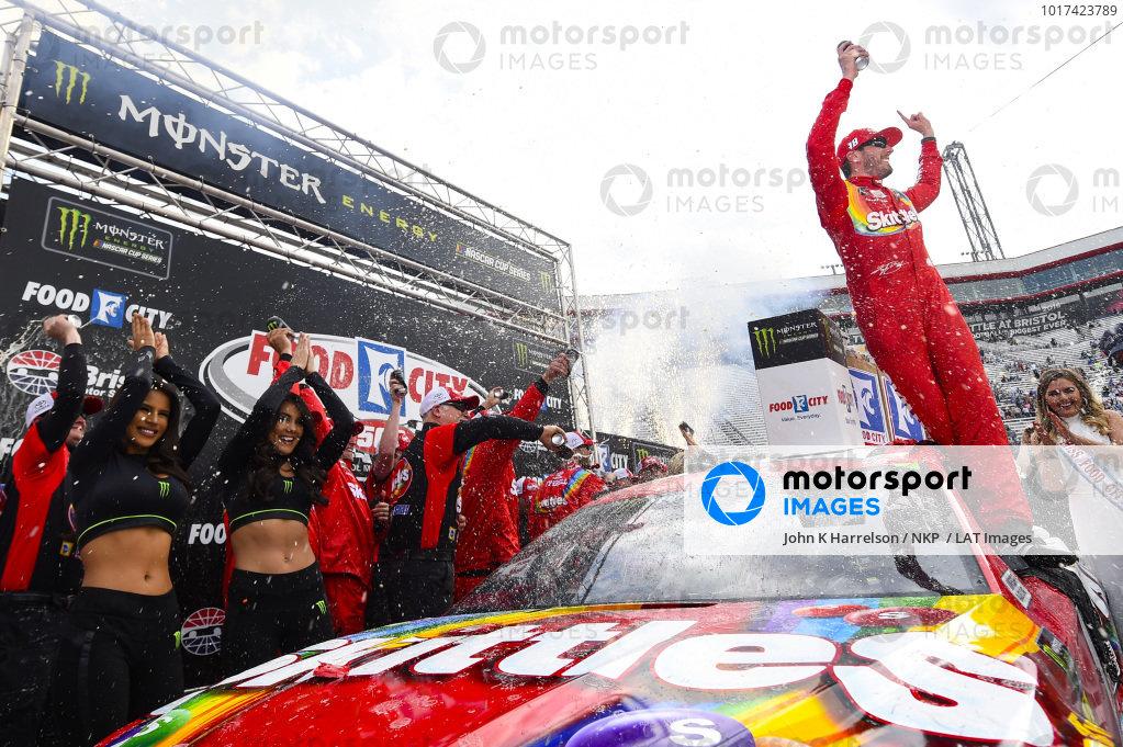 #18: Kyle Busch, Joe Gibbs Racing, Toyota Camry Skittles, celebrates in Victory Lane.