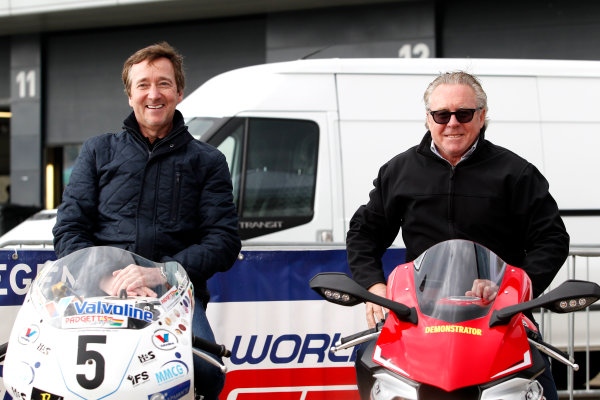 2017 Silverstone Classic Media Day. Silverstone, Northamptonshire. 23rd May 2017. Freddie Spencer and Wayne Gardner. World Copyright: JEP/LAT Images.