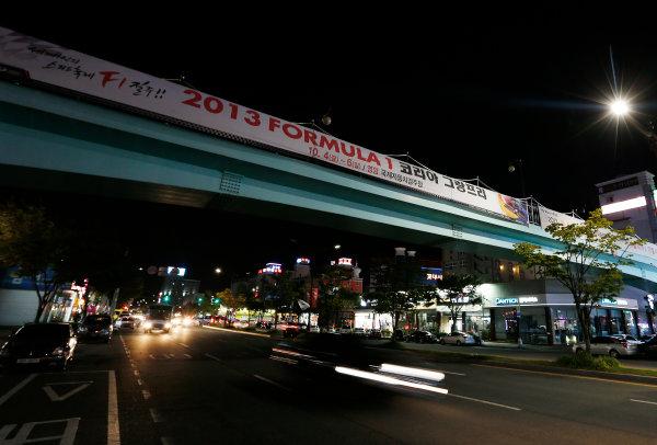 Korea International Circuit, Yeongam-Gun, South Korea. Thursday 3rd October 2013. A sign advertises the F1 race in Mokpo. World Copyright: Charles Coates/LAT Photographic. ref: Digital Image _N7T8413