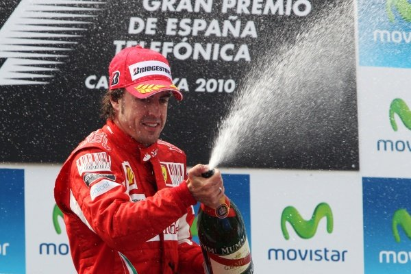 Fernando Alonso (ESP) Ferrari celebrates his second position on the podium.Formula One World Championship, Rd 5, Spanish Grand Prix, Race, Barcelona, Spain, Sunday 9 May 2010.