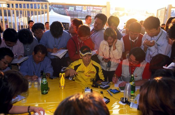 The media interest surrounding local hero Takuma Sato (JPN) Jordan was immense.