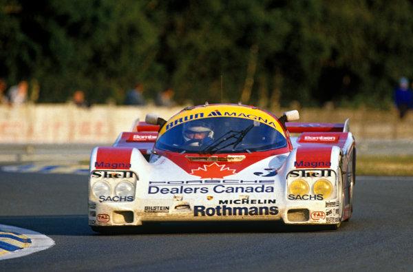Le Mans, France. 10th - 11th June 1987.Richard Spenard/Scott Goodyear/Bill Adam (Porsche 962C), retired, action. World Copyright: LAT Photographic.Ref: 87LM04.