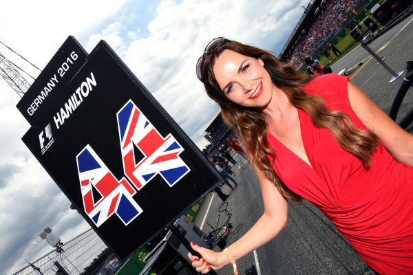 Grid girl at Formula One World Championship, Rd12, German Grand Prix, Race, Hockenheim, Germany, Sunday 31 July 2016.