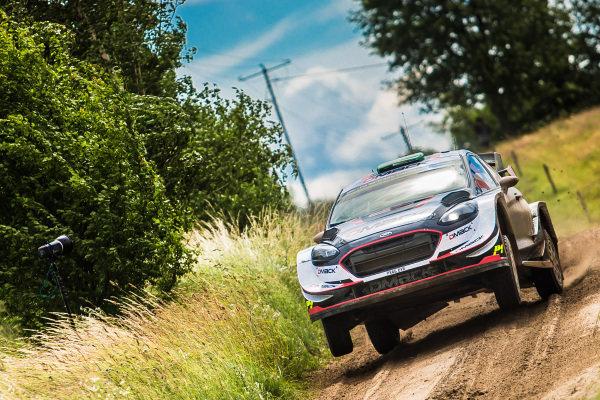 Elfyn Evans (GBR) / Daniel Barritt (GBR), M-Sport World Rally Team Ford Fiesta WRC at World Rally Championship, Rd8, Rally Poland, Day Three, Mikolajki, Poland, 2 July 2017.