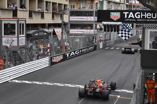 Max Verstappen, Red Bull Racing RB15 crosses the finish line