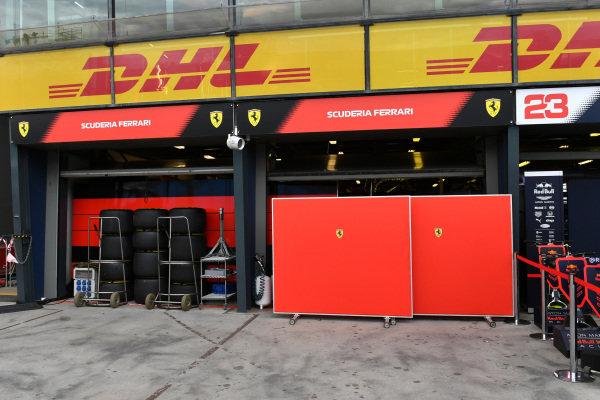 Screens outside the Ferrari garage
