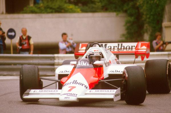 Monte Carlo, Monaco.31/5-3/6 1984.Alain Prost (McLaren MP4\2 TAG Porsche) 1st position at Loews Hairpin.Ref-84 MON 35.World Copyright - LAT Photographic