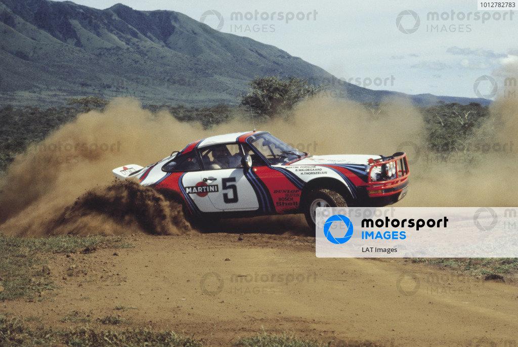 1978 Safari Rally, Kenya. Bjorn Waldegaard sideways in the Porsche 911.World Copyright - LAT PhotographicExhibition ref: a006