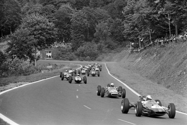 Jack Brabham, Brabham BT16 Ford, leads Alan Rees, Brabham BT16 Ford, and Jackie Stewart, Cooper T75 BRM.