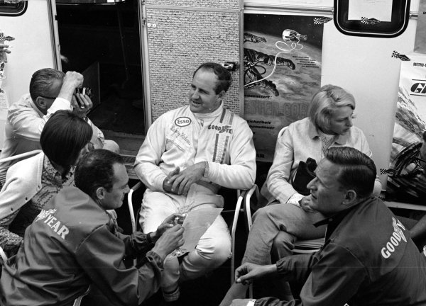 1967 German Grand Prix.Nurburgring, Germany.4-6 August 1967.Race winner Denny Hulme (Brabham) relaxes in the paddock.World Copyright - LAT Photographic