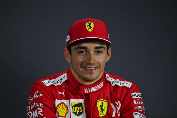 Charles Leclerc, Ferrari, in the post Qualifying Press Conference