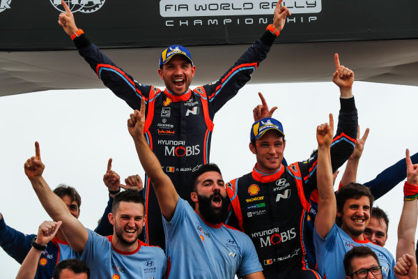 Thierry Neuville celebrates a controlled drive to victory on Rally Portugal