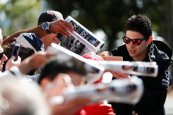 Albert Park, Melbourne, Australia. Wednesday 22 March 2017. Esteban Ocon, Force India, signs autographs for fans. World Copyright: Sam Bloxham/LAT Images ref: Digital Image _J6I0436