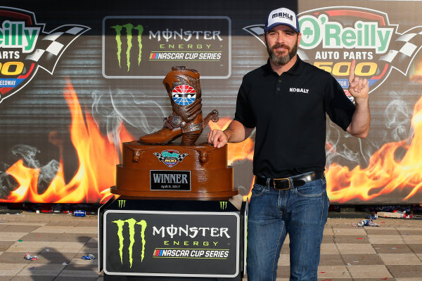 2017 Monster Energy NASCAR Cup Series O'Reilly Auto Parts 500 Texas Motor Speedway, Fort Worth, TX USA Sunday 9 April 2017 Jimmie Johnson celebrates in victory lane  World Copyright: Russell LaBounty/LAT Images ref: Digital Image 17TEX1rl_5509