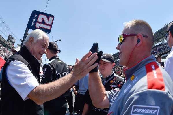 Verizon IndyCar Series Indianapolis 500 Carb Day Indianapolis Motor Speedway, Indianapolis, IN USA Friday 26 May 2017 Will Power, Team Penske Chevrolet and crew celebrate the win of the pit stop competition.  World Copyright: Scott R LePage LAT Images ref: Digital Image lepage-170526-indy-10002