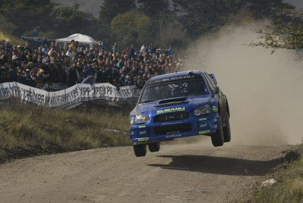 2003 FIA World Rally Champs. Round Five, Argentina,  8th-11th May 2003 Petter Solberg, Subaru, action. World Copyright: McKlein/LAT