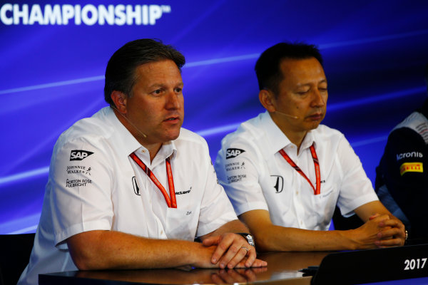 Spa Francorchamps, Belgium.  Friday 25 August 2017. Zak Brown, Executive Director, McLaren Technology Group, and Yusuke Hasegawa, Senior Managing Officer, Honda, in the Press Conference. World Copyright: Andy Hone/LAT Images  ref: Digital Image _ONY3796