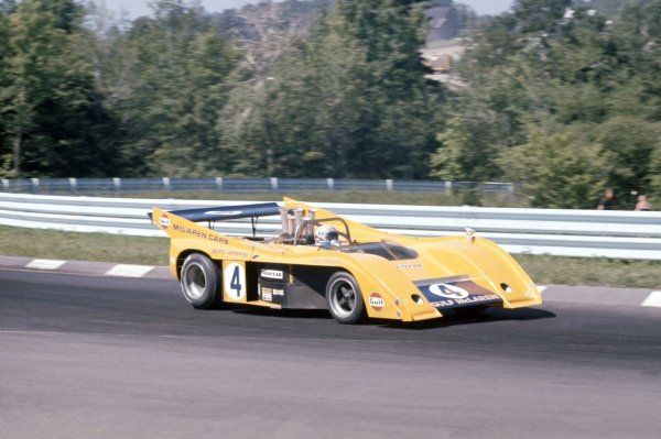 1972 Can-Am Challenge Cup.CanAm race. Watkins Glen, New York State, United States (USA). 23 July 1972.Peter Revson (McLaren M20-Chevrolet), 2nd position.World Copyright: LAT PhotographicRef: 35mm transparency 72CANAM27