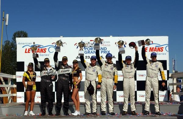 GTS Podium:1st: Ron Fellows and Johnny O'Connell.2nd: Oliver Gavin and Olivier Beretta.3rd: Terry Borcheller and Johnny Mowlem.American Le Mans Series, Portland International Raceway, Rd.5, Portland, USA.DIGITAL IMAGE