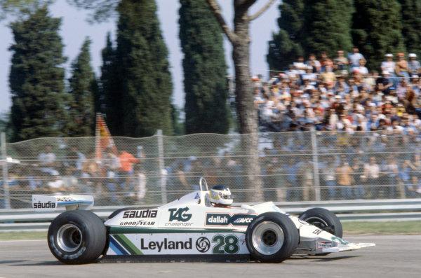 Imola, Italy. 12-14 September 1980. Carlos Reutemann, Williams FW07B-Ford Cosworth, 3rd position. World Copyright: LAT Photographic. Ref: 80ITA08