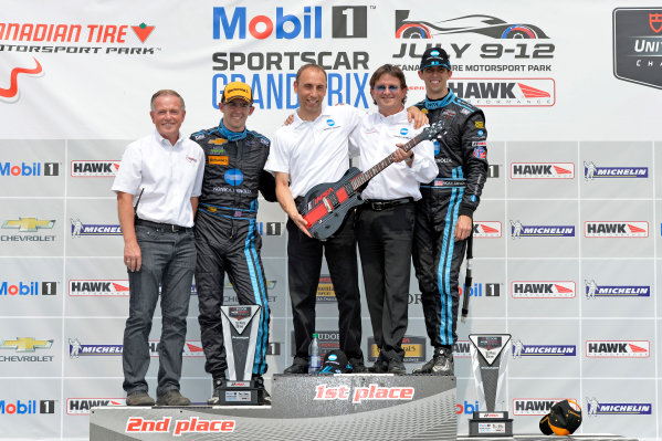 10-12 July 2015, Bowmanville, Ontario Canada 10, Chevrolet, Corvette DP, P, Ricky Taylor, Jordan Taylor PRS guitar award in victory lane ?2015 Scott R LePage  LAT Photo USA