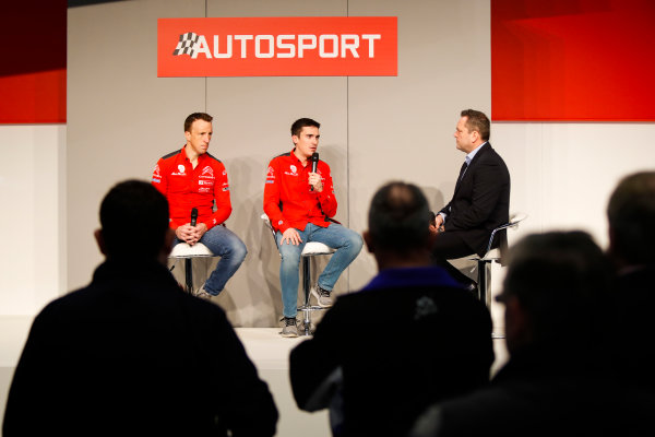 Autosport International Exhibition. National Exhibition Centre, Birmingham, UK. Friday 12th January 2018. Kris Meeke and Craig Breen of Citroen talk to Henry Hope-Frost on the Autosport Stage. World Copyright: Joe Portlock/LAT Images Ref: _U9I0485