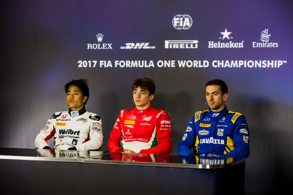 2017 FIA Formula 2 Round 4. Baku City Circuit, Baku, Azerbaijan. Friday 23 June 2017. Nobuharu Matsushita (JPN, ART Grand Prix), Charles Leclerc (MCO, PREMA Racing) and Nicholas Latifi (CAN, DAMS) in the post-qualifying press conference. Photo: Zak Mauger/FIA Formula 2. ref: Digital Image _56I6986
