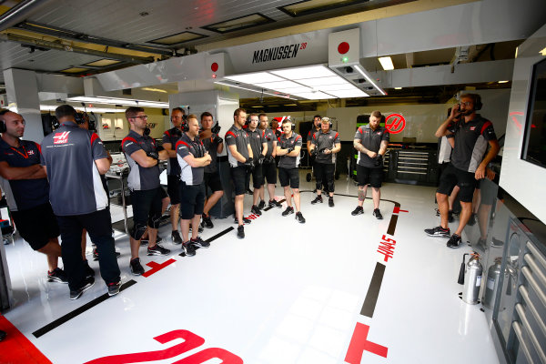 Hungaroring, Budapest, Hungary.  Thursday 27 July 2017. Haas team members in the garage. World Copyright: Andy Hone/LAT Images  ref: Digital Image _ONY9214