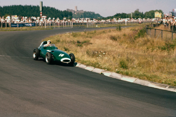 Nurburgring, Germany.  2nd - 4th August 1957. Stirling Moss (Vanwall VW5) 5th position, action.World Copyright: LAT Photographic.Ref: 57 GER 09.
