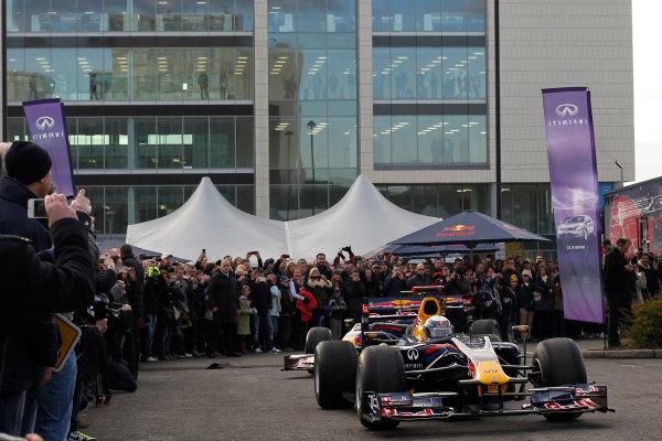 Milton Keynes.  Saturday 10th December 2011.Sebastian Vettel, Red Bull Racing RB7 Renault in action during the Red Bull Racing home run.Photo: LAT Photographic.Ref: Digital Image _Q0C6916 jpg