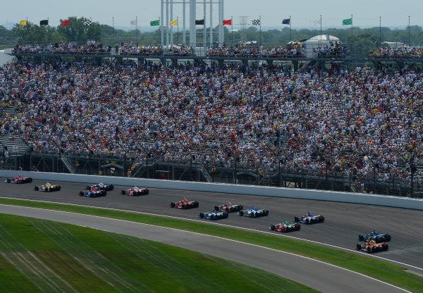 27 May, 2012, Indianapolis, IndianaScott Dixon, #9 Target Chip Ganassi Racing Honda heads pack of car through turn one(c)2012 Dan R. Boyd LAT Photo USA