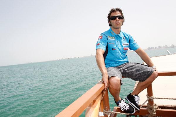 Losail International Circuit, Qatar.Round 1. 9th - 11th April 2010.Loris Capirossi Rizla Suzuki Team on a boat downtown Doha.World Copyright: Martin Heath/LAT Photographicref: Digital Image _J1C0044