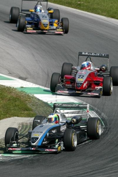 Olivier Pla (FRA) ASM F3 Dallara Mercedes leads Markus Winkelhock (GER) Mucke Motorsport Dallara Mercedes and Christian Klien (AUT) ADAC Berlin-Brandenburg Dallara Mercedes. F3 Euro Series, Rd13 & Rd14, A1-Ring, Austria, 7 September 2003. DIGITAL IMAGE